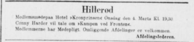 Avisudklip med hvervemøde i Hillerød