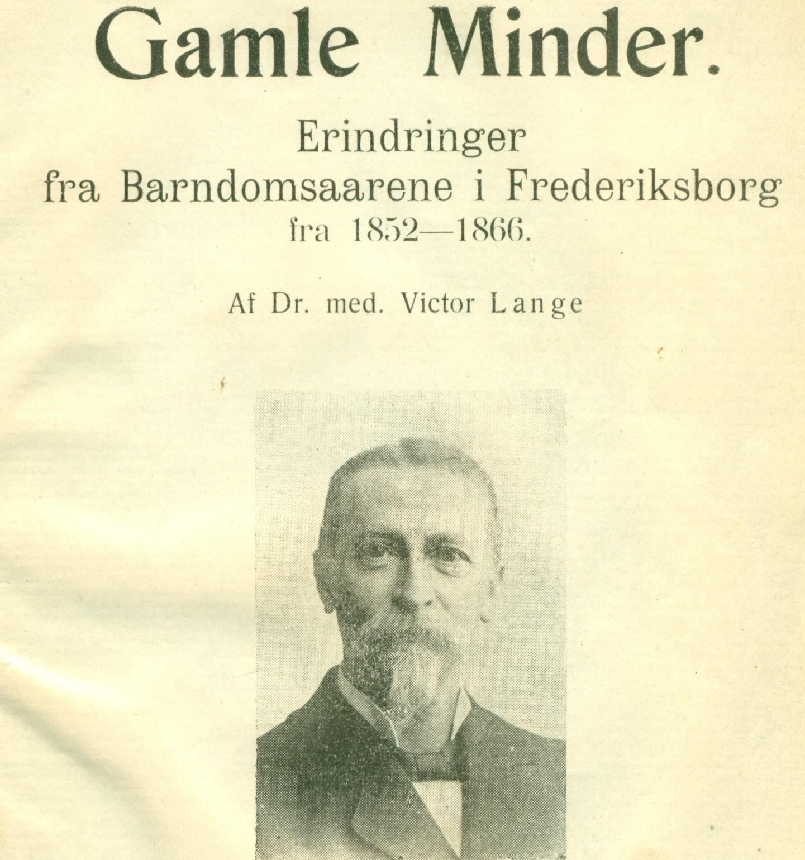 """Portræt på bogforsiden af """"Gamle minder"""" af Victor Lange"""