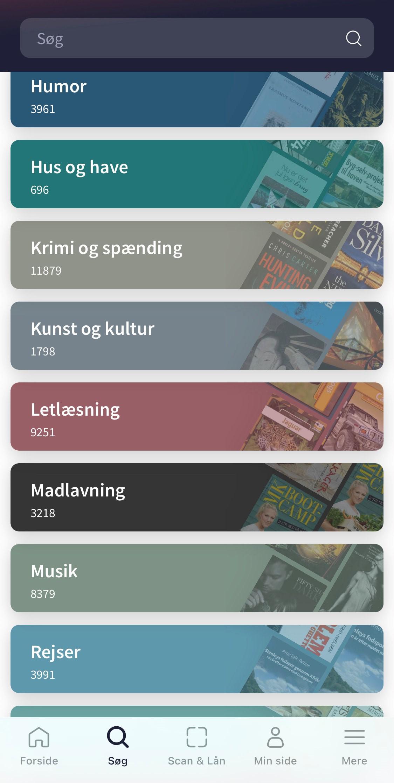 Skærmbillede fra app'en Biblioteket, der viser en udpluk af de predefinerede søgekategorier
