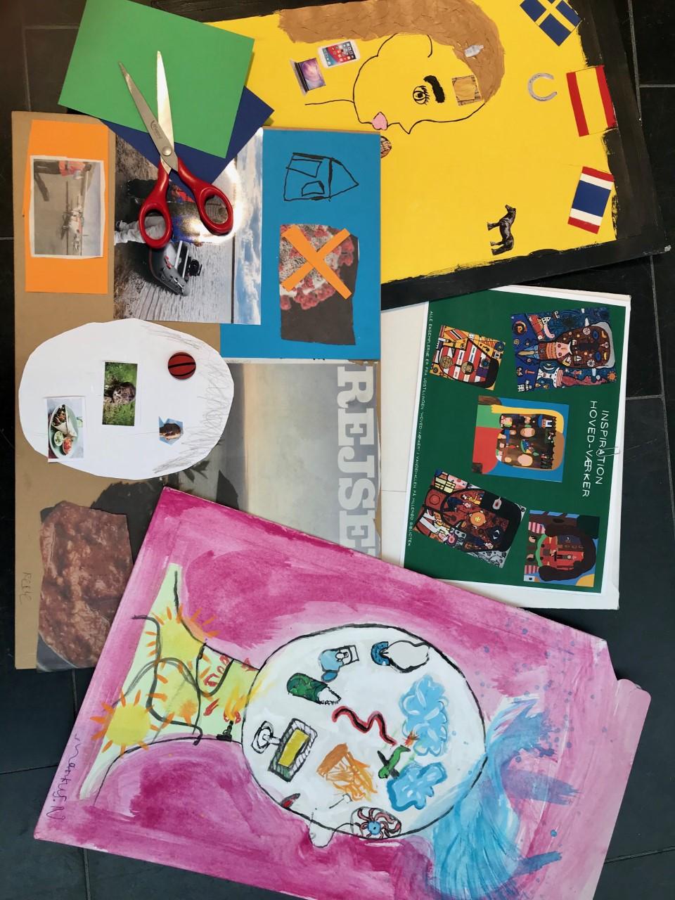 Kunst lavet af børn i forbindelse med online undervisning