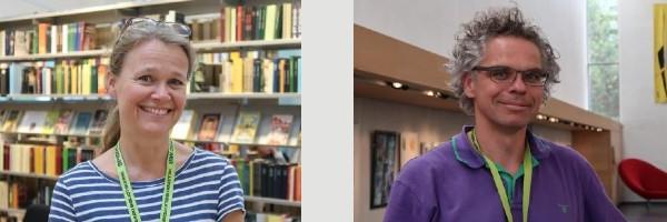 Bibliotekarer Ingeborg Nielsen og Jakob Poulsen