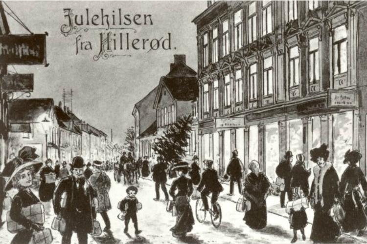 Postkort, julehandel i Slotsgade 1910