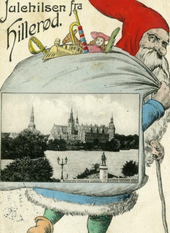 Julemand med billede af Frederiksborg Slot i gavesækken, 1909