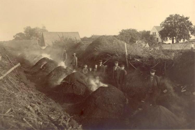 Kulsviere ved de forkullede miler. Hillerød OVerdrev. 1920