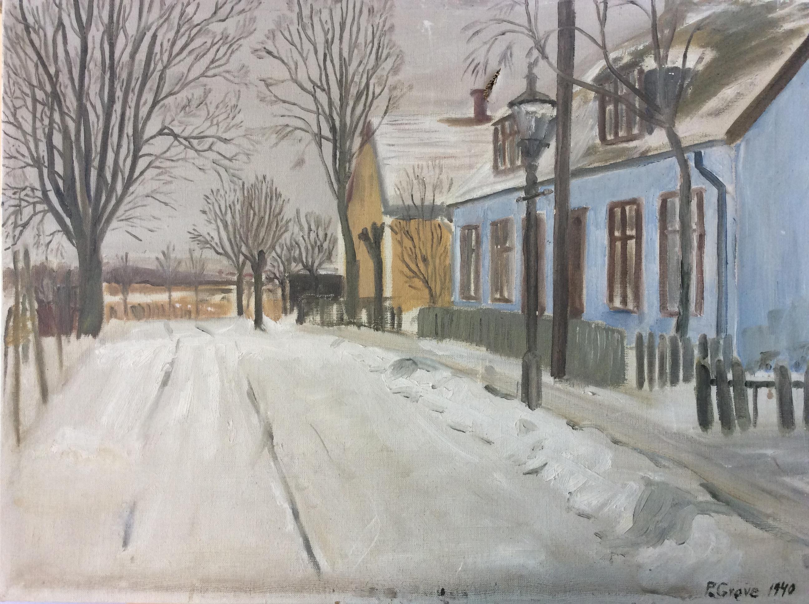 Oliemaleri, motivet er muligvis fra Nyhuse, 1940