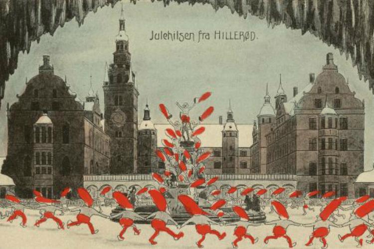 Nisser danser rundt om Netptunspringvandet på Frederiksborg Slot, ca. 1910