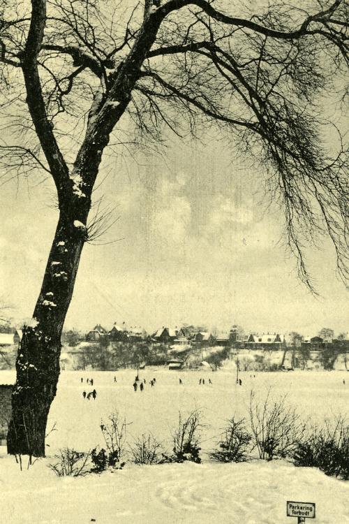 Postkort med vue ud over Slotssøen med sne