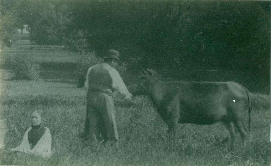 Hjulmand Hans Pedersen på engen