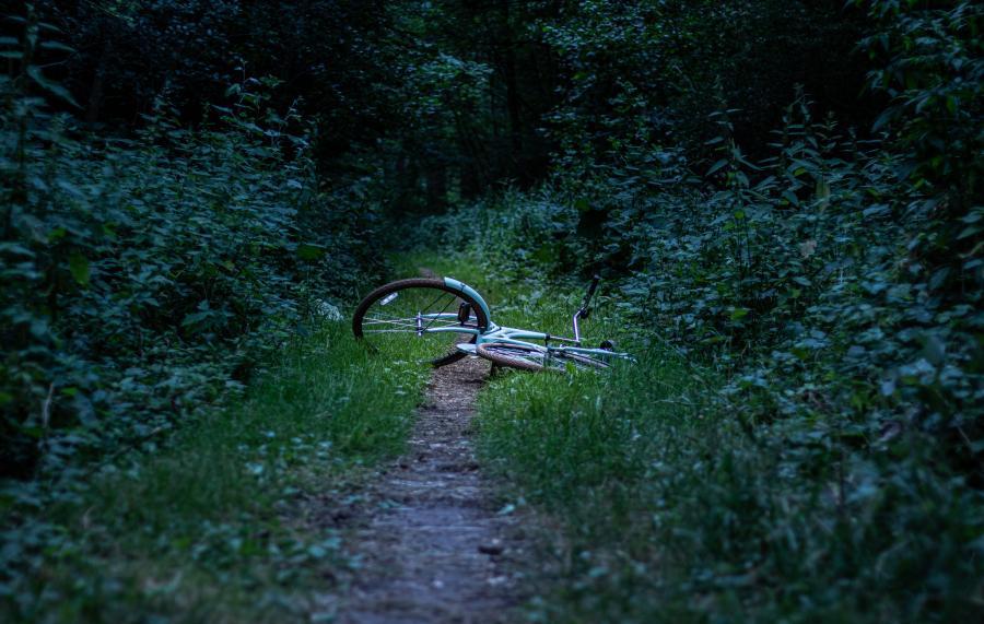 En væltet cykel ligger forladt på en skovsti