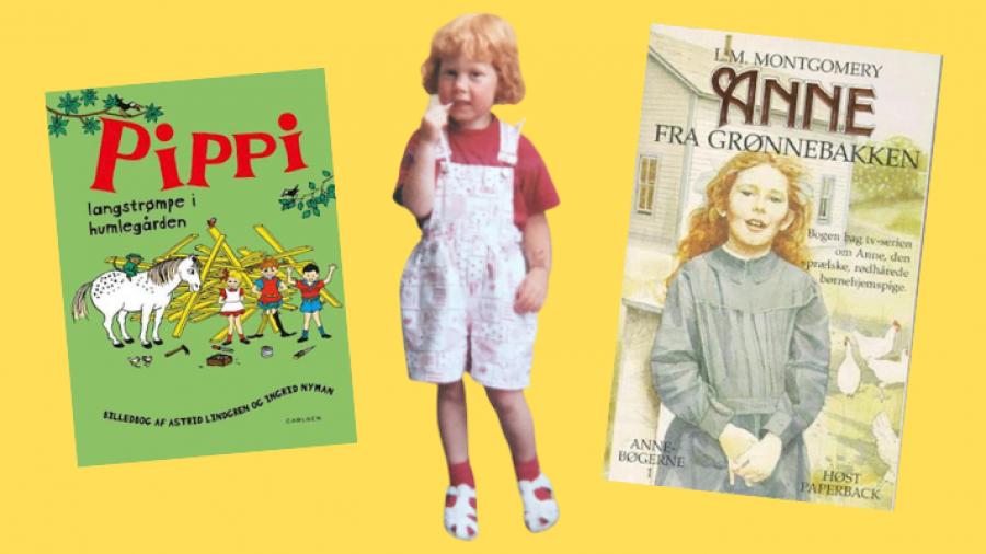 Børnebibliotekar Anne Kathrine som barn med rødt hår
