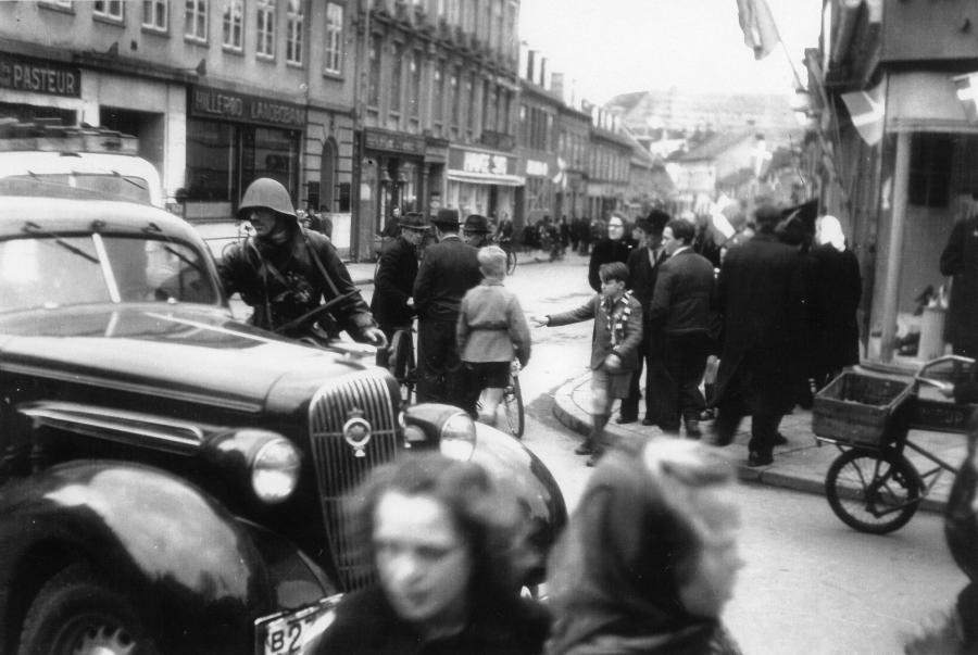 Foto af befrielsen i Hillerød, 1945