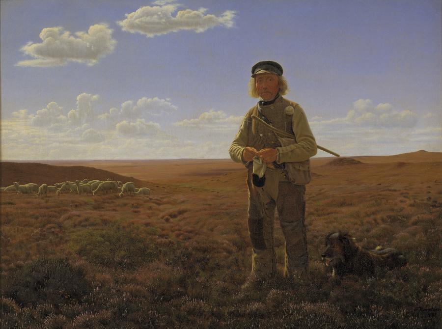 En jysk fårehyrde på heden. Maleri af Frederik Vermehren 1823-1910