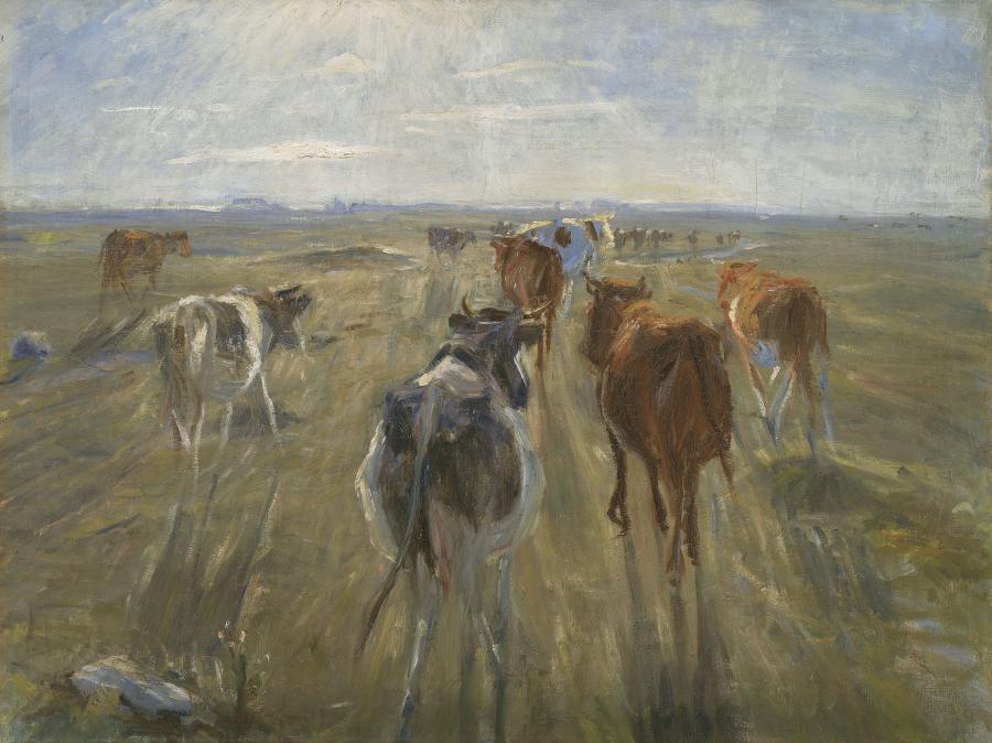 Maleri af køer der går mod solnedgangen
