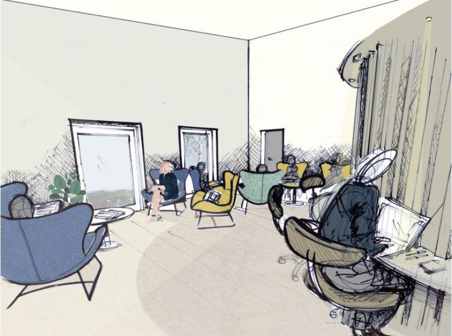 Arkitekttegning af bibliotekets nye område
