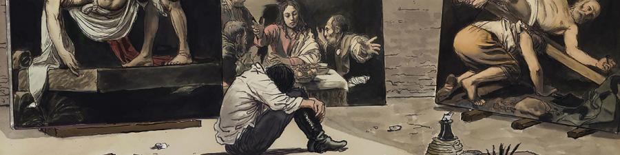 """Udsnit fra """"Caravaggio"""" af Milo Manara"""