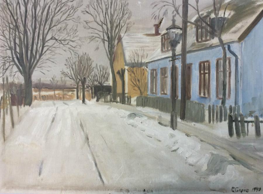 Maleri med muligt motiv fra Nyhuse, 1940