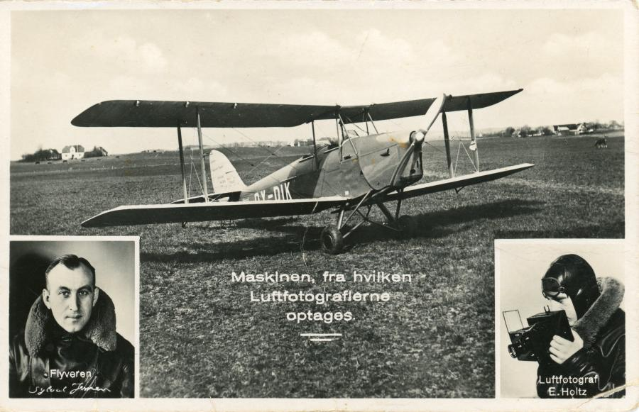Reklamepostkort for Sylvest Jensen med flyvemaskine