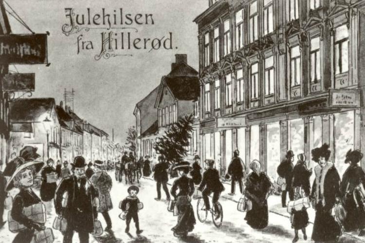 Julekort med julehandel på Slotsgade ca. 1910